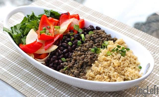 Quinoa, Lentil and Black Bean Burrito Bowl from ZagLeft