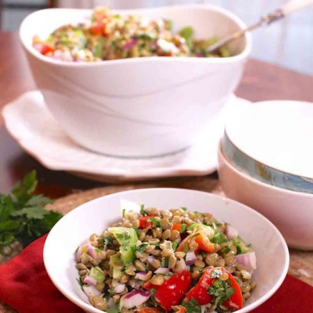 This healthy Lentil Salad is made with cooked lentils, finely chopped red onions, green peppers, red peppers, cilantro and parsley. It's perfect to make ahead for lunch or to enjoy on the side with a piece of salmon or chicken.